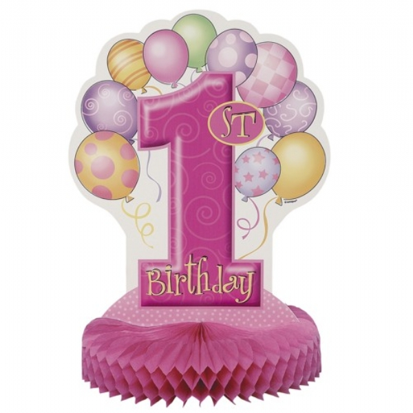 1st Birthday Balloon Pink Honeycomb Centerpiece