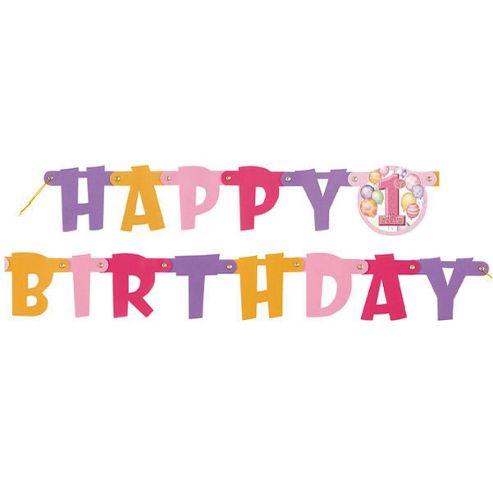 1st Birthday Balloon Pink Banner Happy