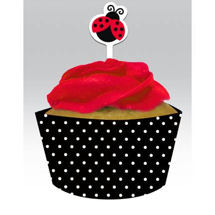 Ladybug Cupcake wrappers & picks