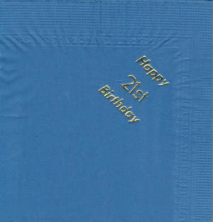Serviettes - Navy Blue - Happy 21st Birthday - Silver