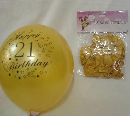 Standard Balloon - Gold 21st Birthday