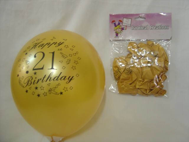 Standard Balloon - Gold 21st Birthday