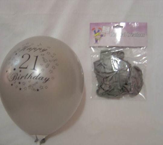 Standard Balloons - Silver 21st Birthday