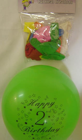 Standard - Happy 2nd Birthday - Assorted colours