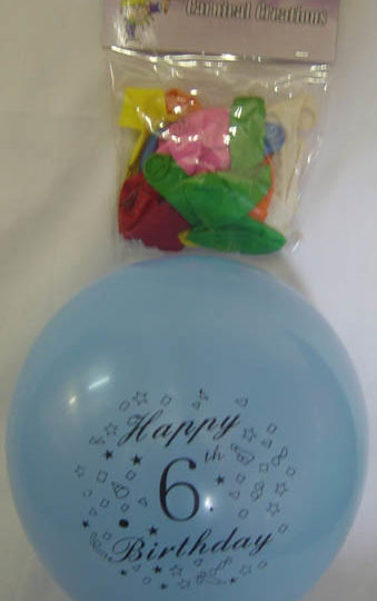 Standard - Happy 6th Birthday - Assorted colours