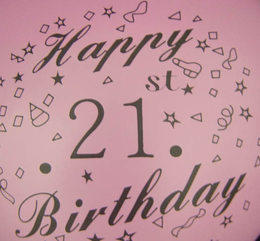 Standard - Happy 21st Birthday - Assorted colours
