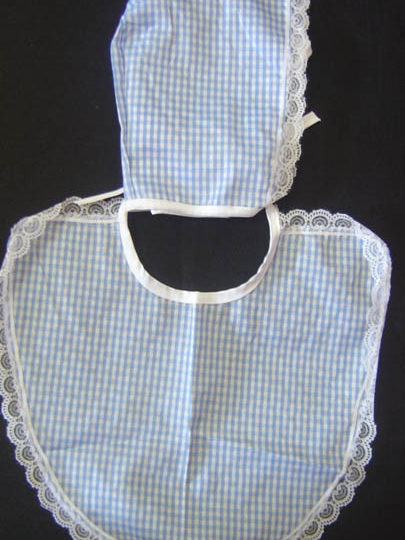 Baby Bonnet & Bib set - Material - Adult Blue