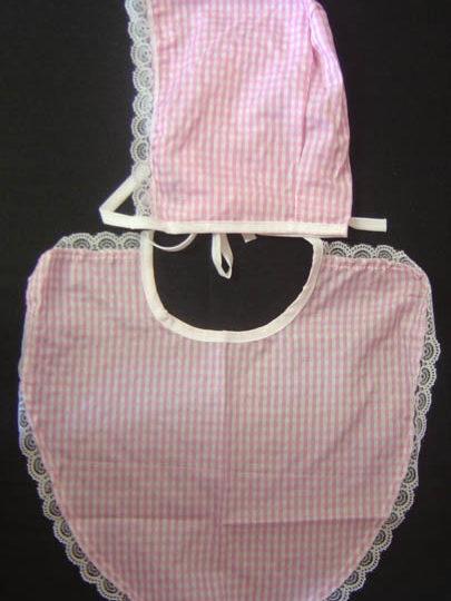 Baby Bonnet & Bib set - material - Adult Pink