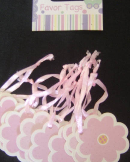 Baby Tags - Pink Flowers with ribbon