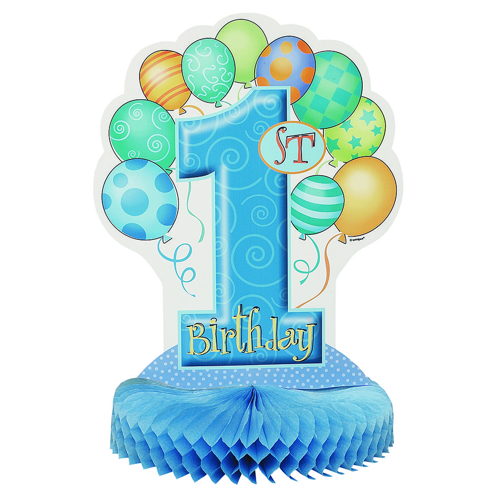 1st Birthday Balloon Blue Honeycomb Centrepiece